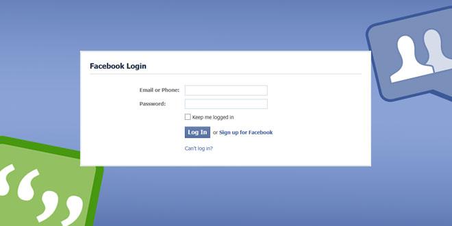 Facebook login Home page