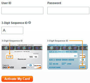 Log in to activate your card