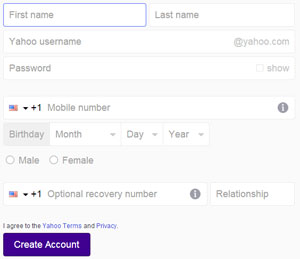 Yahoo Mail Sign-up form