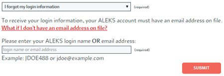 Forgot ALEKS password or login name