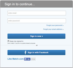 Match login form