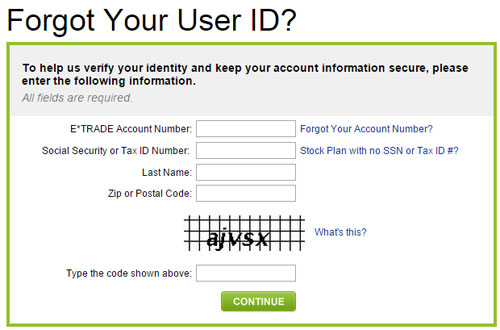 Forgot Your ETRADE User ID