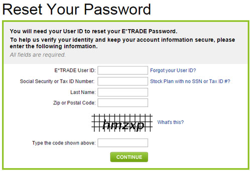 Reset Your ETRADE Password