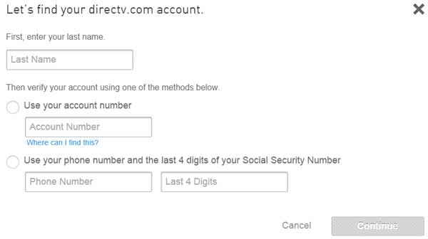 Forgot DirecTV Email Address popup